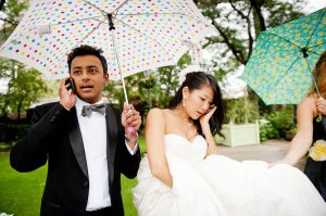 Be ready to make some calls on a rainy wedding day...