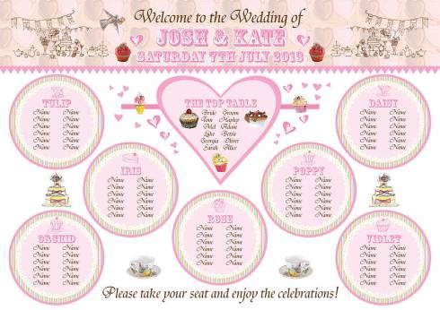 Include table names and a diagram so that guests will easily locate their seats in the reception room.