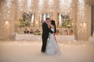 Wedding Fireworks and fog Dance