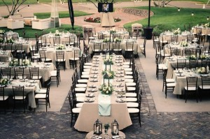 A bridal table in the middle of the guest tables?