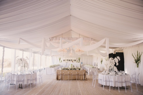 The photo that inspired me... a long bridal table in the center of the room