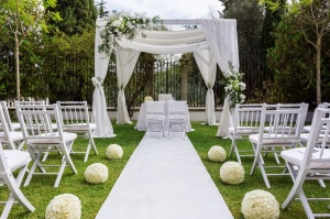 Wedding path and decorations for newlyweds. In Nature in the garden.